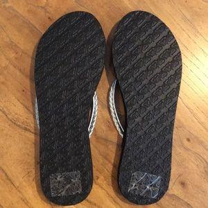 Roxy Shoes - ROXY Black and Silver LANAI Flip Flops